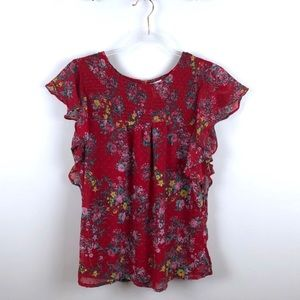 Japna Red Floral Flowy Top Blouse Small S